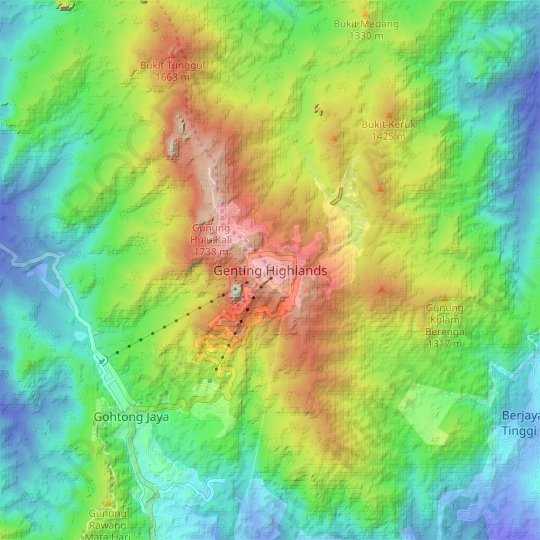 Carte topographique Genting Highlands, carte du relief, carte des altitudes