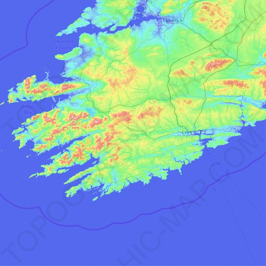 Carte topographique County Cork, carte du relief, carte des altitudes