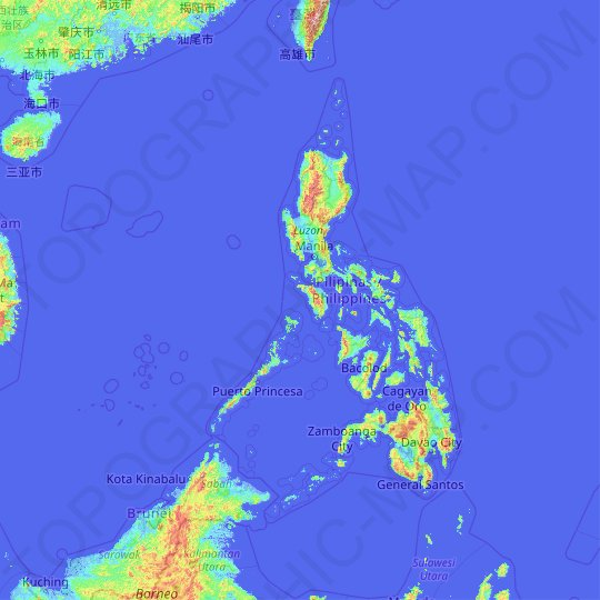 Carte topographique Philippines, relief, altitude