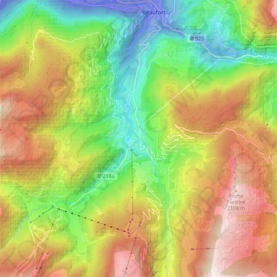 Carte topographique Arêches, relief, altitude